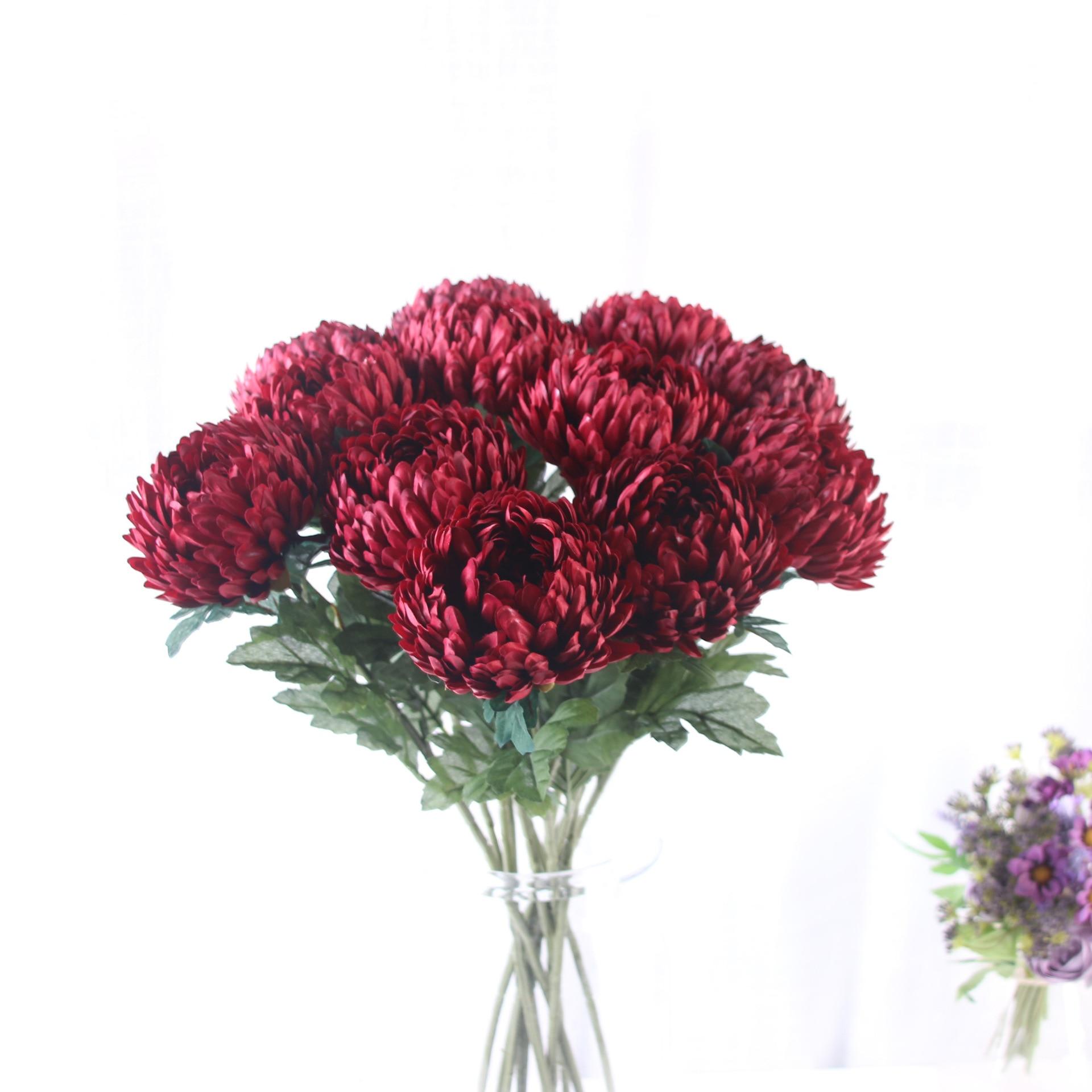 Крупные хризантемы 58 см, искусственные шелковые цветы, цветы, осень, свадьба, украшения «сделай сам», аксессуары, искусственные растения
