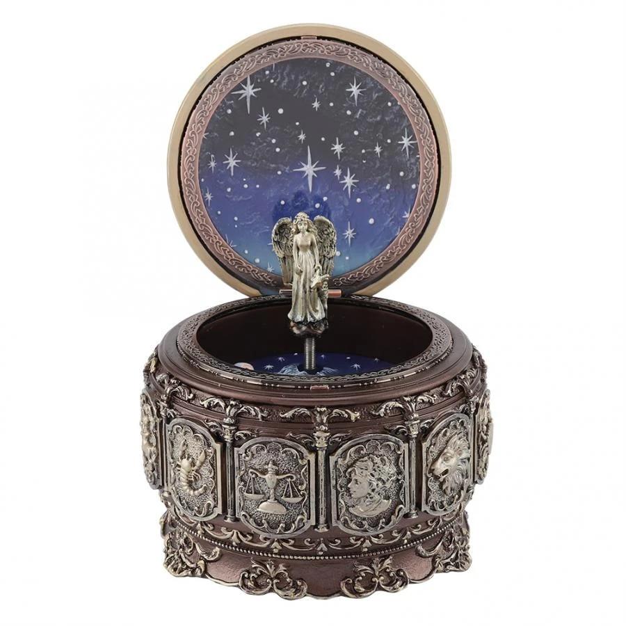 12 Constellations Vintage Rotating Goddess Music Box Gift Twinkling LED Light