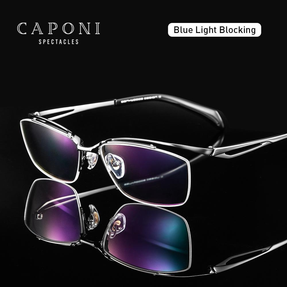 CAPONI, синий светильник, блокирующие очки, чистый титан, ультра светильник, оправа для очков, рецептурные компьютерные прозрачные очки для муж...