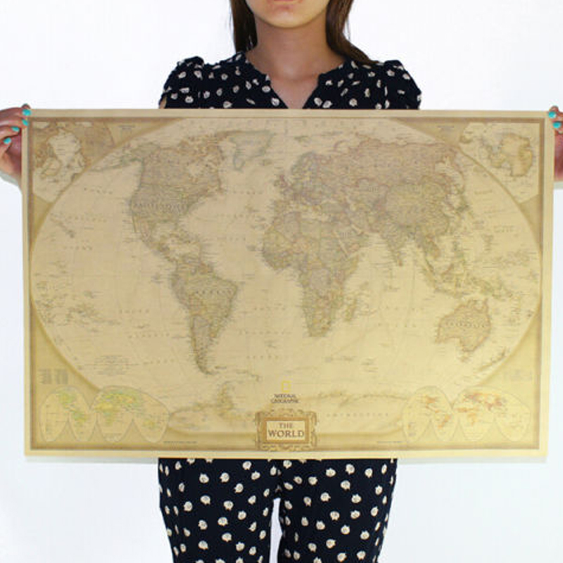 72x47cm Big Size Vintage Journal Poster Retro World Globe Poster Decoration For Office School Maps World Map On The Wall
