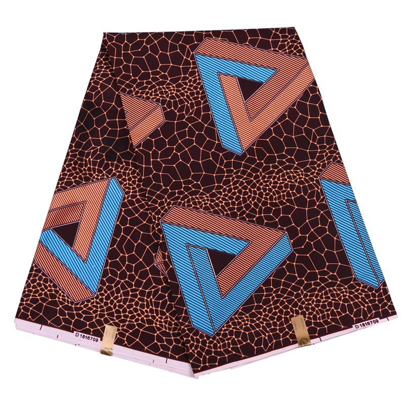New Fashion Arrivals African Wax Blue Triangle Printed Fabric African  Wax Printed Chocolate Color Fabric 6Yards
