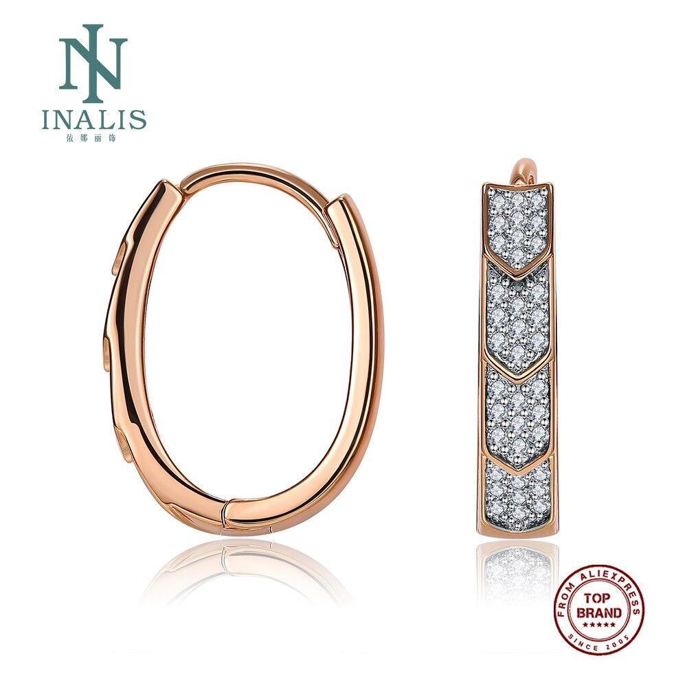 INALIS Hoop Earrings For Women Champagne Gold Arrow-Head Shape Copper Earring Hot Selling Fashion Jewelry Wedding Party Gift