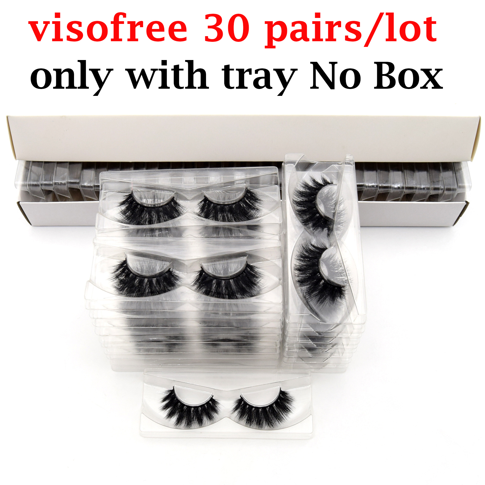 30 Pair Visofree 3D Mink Lashes No Box Natural False Eyelashes Dramatic Fake Mink Lashes Makeup Eyelash Extension Silk Eyelashes