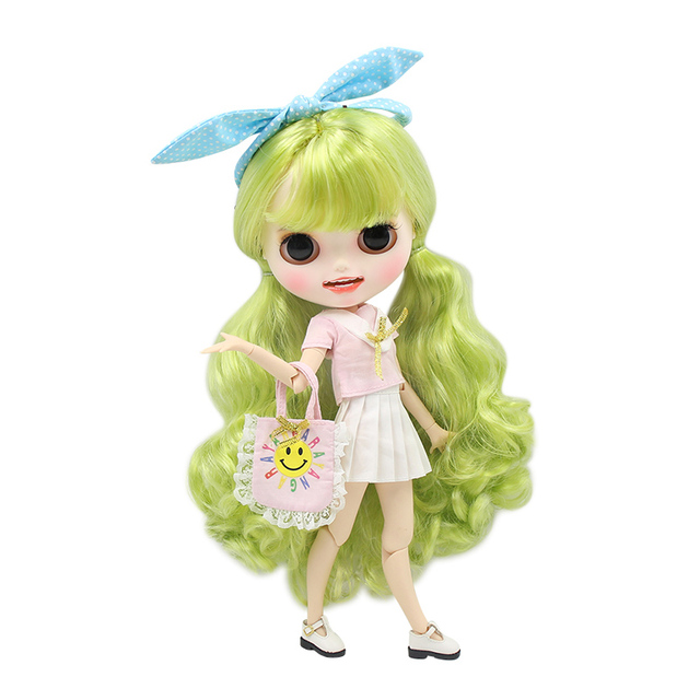 ICY blyth doll hand painted matte face white skin fresh green curly hair suit doll with teeth lips eyebrows 30cm DIY BJD SD gift