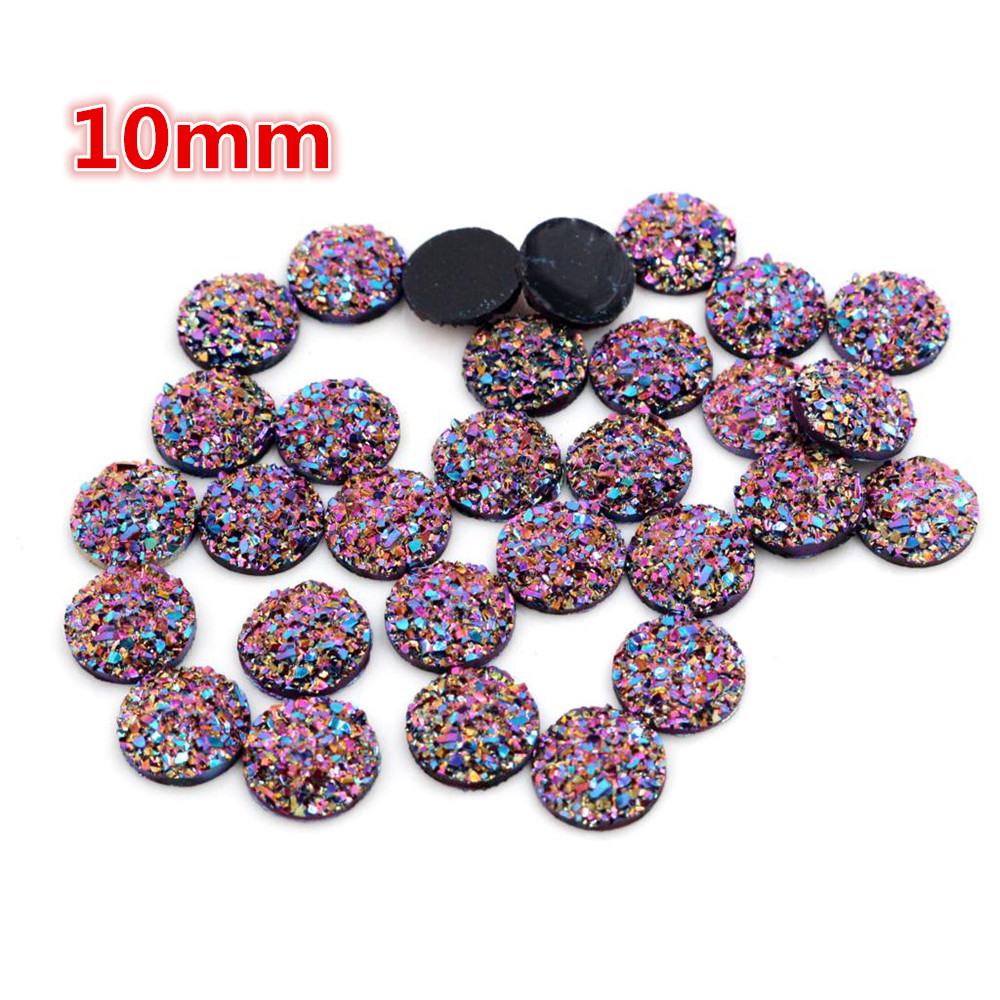 New Fashion 10mm 40pcs Dream Aurora AB Colors Natural Ore Flat Back Resin Cabochons For Bracelet Earrings Accessories-O5-32