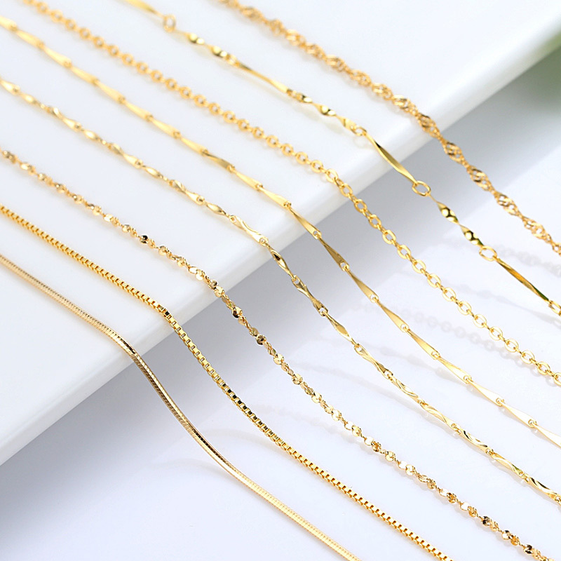 Genuine 14k Gold Color Necklace For Women Water Wave Chain Snake Bone/starry/Cross Chain 18 inches Necklace Pendant Fine Jewelry