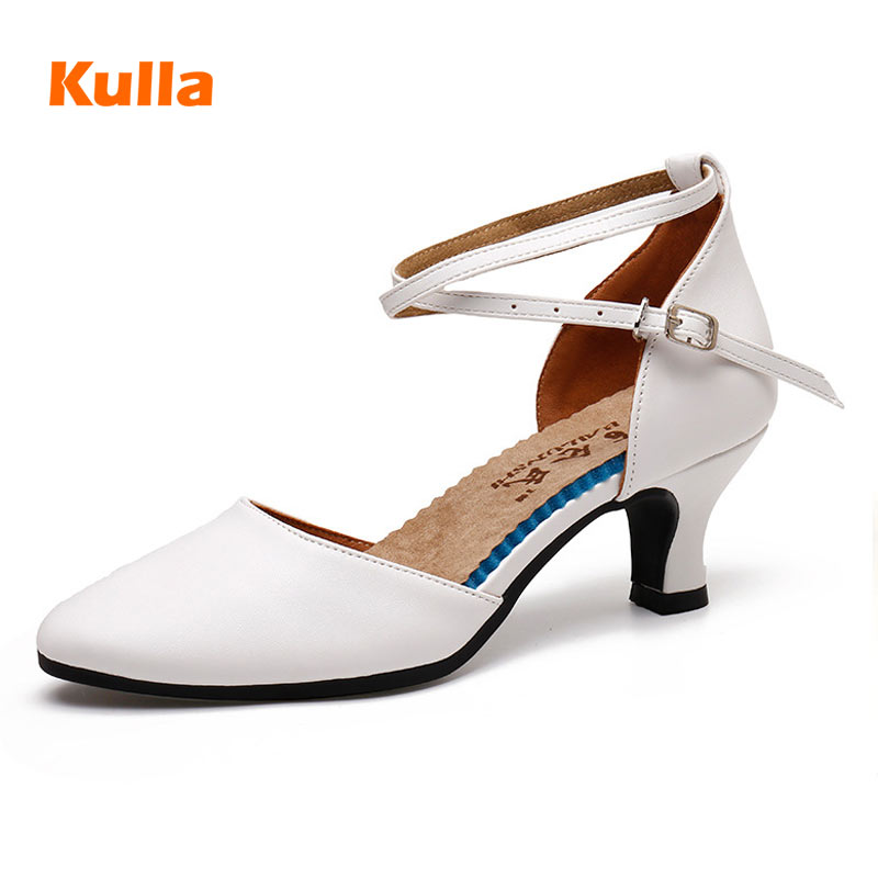 Ballroom Latin Dance Shoes For Women PU Closed Toe Ladies Salsa Dancing Shoes Female Middle Heels 3.5cm/5.5cm Social Sandals