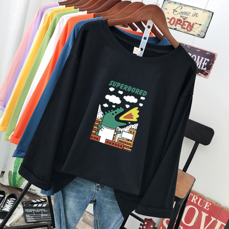 DONAMOL Plus Size Fashion Spring And Autumn Female Tees 100% Cotton Long Sleeve Tops Pullover Cartoon Printing Women's T-shirts