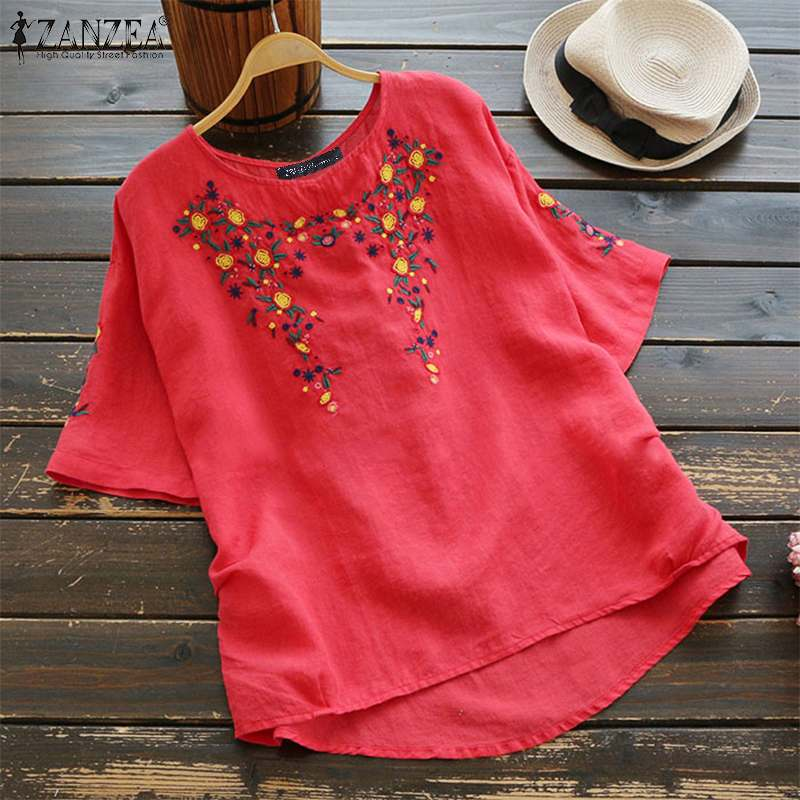 2019 ZANZEA Women Embroidery Blouse Summer Shirts Casual Short Sleeve Cotton Linen Blusas Chemise Robe Tunic Top Femme Blouses