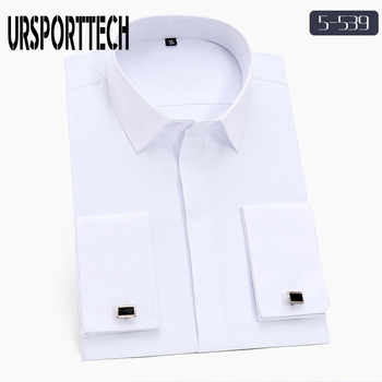 New Men Long Sleeve Shirt Spring Solid Men French Cufflinks Casual Shirt White Collar Design Mens French Cuff Dress Shirts M-5XL contrast collar and cuff grid dress