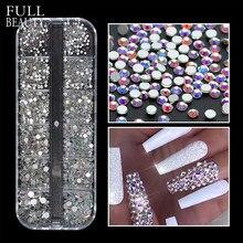Strass 3D AB en verre multi-tailles pour Nail Art, décoration en pierre à paillettes claires pour ongles, accessoires de manucure