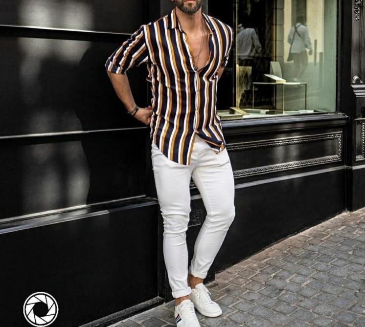 2019 Long Sleeve Stripe Lapel Cotton Man Leisure Time Shirt Male
