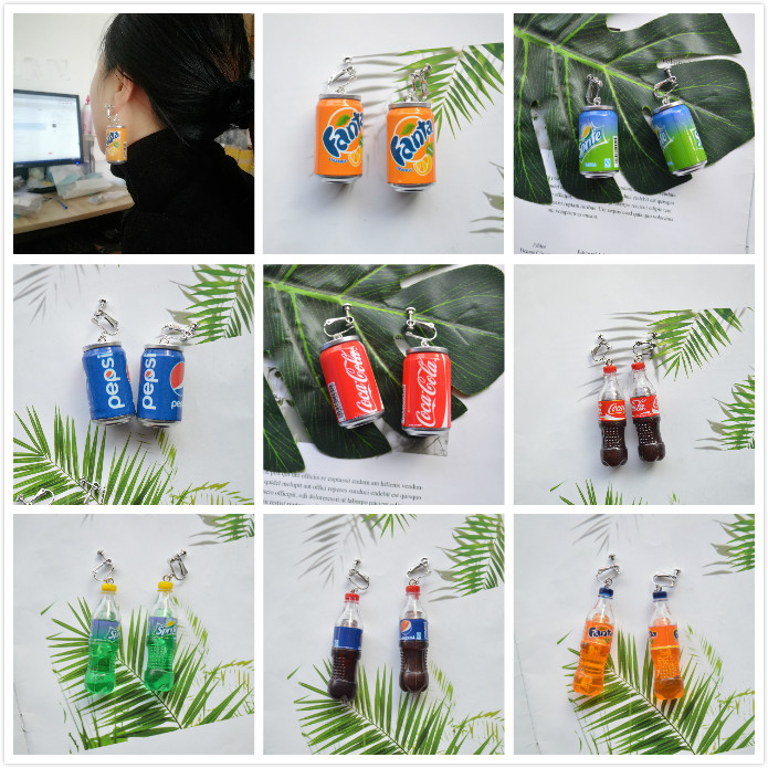 Funny DIY Cola Canned Bottled Sprite Earrings No Ear Holes Fashion Ear Clip For Women And Children Creative Naughty Jewelry