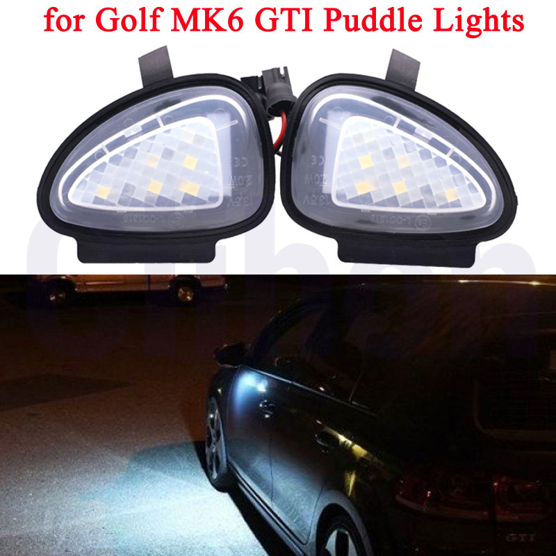 2PCS Under Mirror Light Puddle Lamp for <font><b>Volkswagen</b></font> for VW Golf MK5 MK6 GTI R32 Passat B7 B6 <font><b>CC</b></font> Scirocco MK3 Touran Error Free image