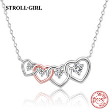 StrollGirl New 925 sterling silver Rose Gold Color Heart-to-heart chain with clear CZ necklace for Women Fashion Jewelry gifts jonni olson heart to heart with god
