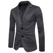 OLOME, модный Мужской Хлопковый Блейзер, осень, новинка, мужской повседневный пиджак, деловой, одежда, одноцветная, приталенная, одежда размера плюс