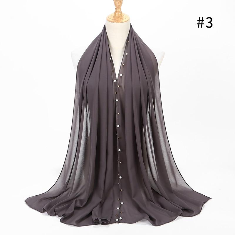 Bubble Bhiffon Scarf Gold Beaded Pearl Scarf Shawl Foulard Femme Hijab Muslim Scarf 20 Color 180*75cm