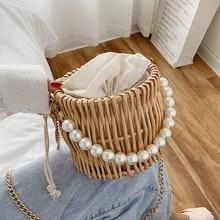 Beading Chain Summer Small Straw Shoulder Bags For Women Rattan Weave Travel Beach Bucket Bag Women's Fashion Crossbody Handbags