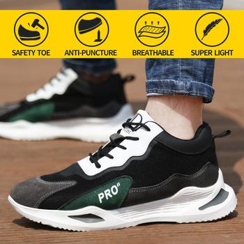 2021nowe buty robocze bhp męskie stalowe palce przeciwzmarszczkowe anty-przebicie miękkie światło wygodne buty ochronne damskie Sneaker tanie i dobre opinie NoEnName_Null Pracy i bezpieczeństwa CN (pochodzenie) Krowa Zamszu ANKLE Patchwork Dla dorosłych Mesh Mesh (air mesh)