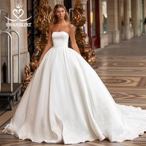 Image 2 - Swanskirtでエレガントな2 1ジャケットのウェディングドレス2020アップリケサテンaライン王女カスタマイズされた花嫁衣装vestidoデ · ノビアI326