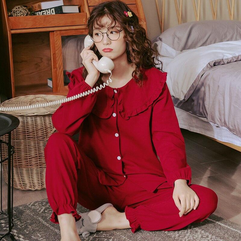 Image 3 - Women Full Cotton Pajamas Wedding Festive Red Pajamas Sets Sleepwear Long Sleeve Top+Long Pants Pajamas Home Clothing PyjamasPajama Sets   -