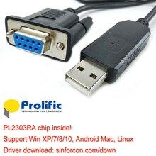 Adaptateur USB rs232 pl2303ra avec câble de Modem nul de retournement croisé db9f prolifique NMC pour STB Smart TV hôtel IPTV
