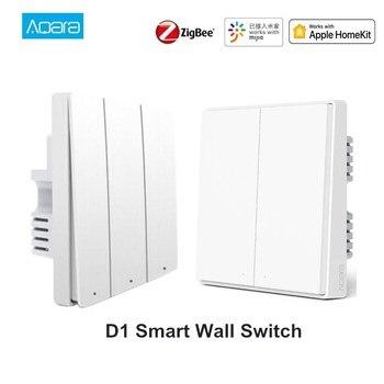 New Aqara D1 Smart Wall Switch Zigbee Wireless Remote Control Light Switch Neutral Fire Wire 1/2/3 Button For Mijia HomeKit APP