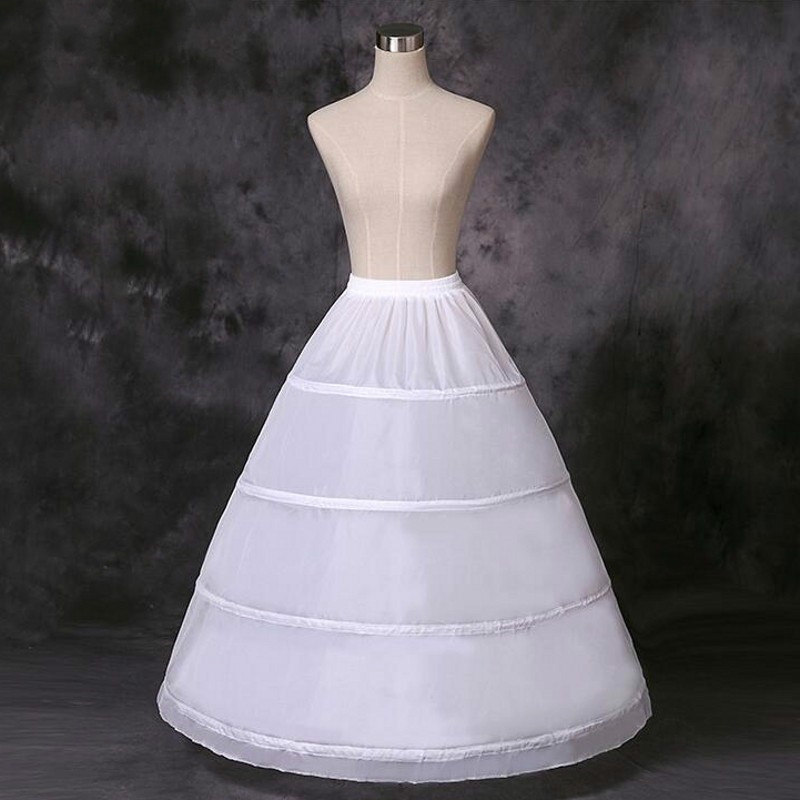 2020 Cheap Long Wedding Bridal Petticoats for Wedding Dress 4 Hoop Ball Gown Crinoline Petticoat