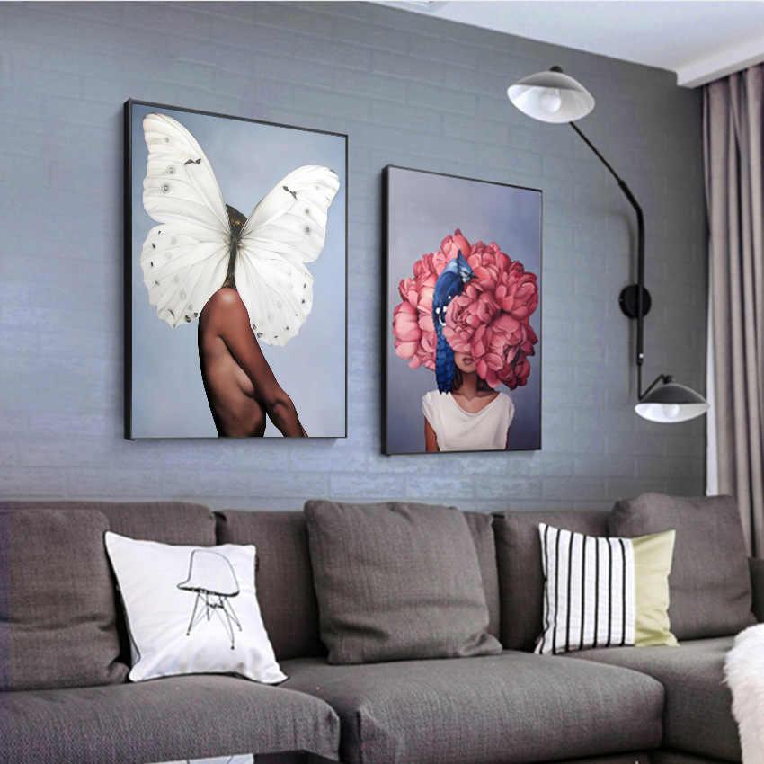 Abstrait toile peinture mur Art imprimer affiche femmes et fleur image décorative peinture salon décoration de la maison