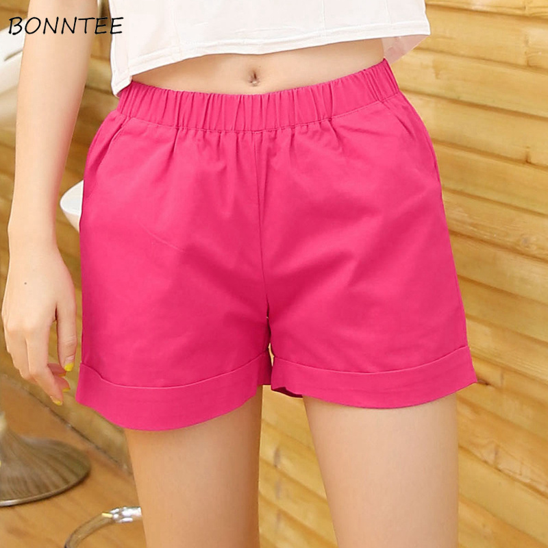 Shorts Women Summer Trendy Plus Size Loose Solid Womens Leisure Simple Female Comfortable Clothing Candy Color Pockets Graceful
