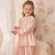 Autumn Winter Flannel Pajamas For Baby Girls Long Sleeve Trouser Warm Thickening Sleepwear Set 2-12y Kids Girls Leisure Homewear