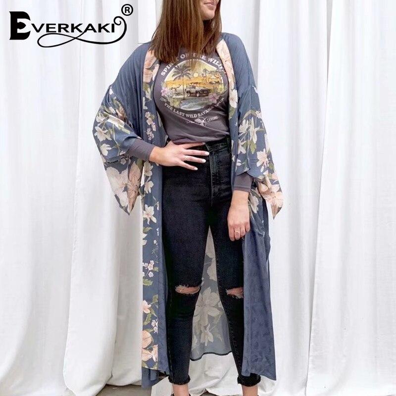 Everkaki Women Kimono Cardigan Split Floral Print Short Sleeve Sashes Boho Loose Ladies Long Cover Up Blouse Shirts Blouses