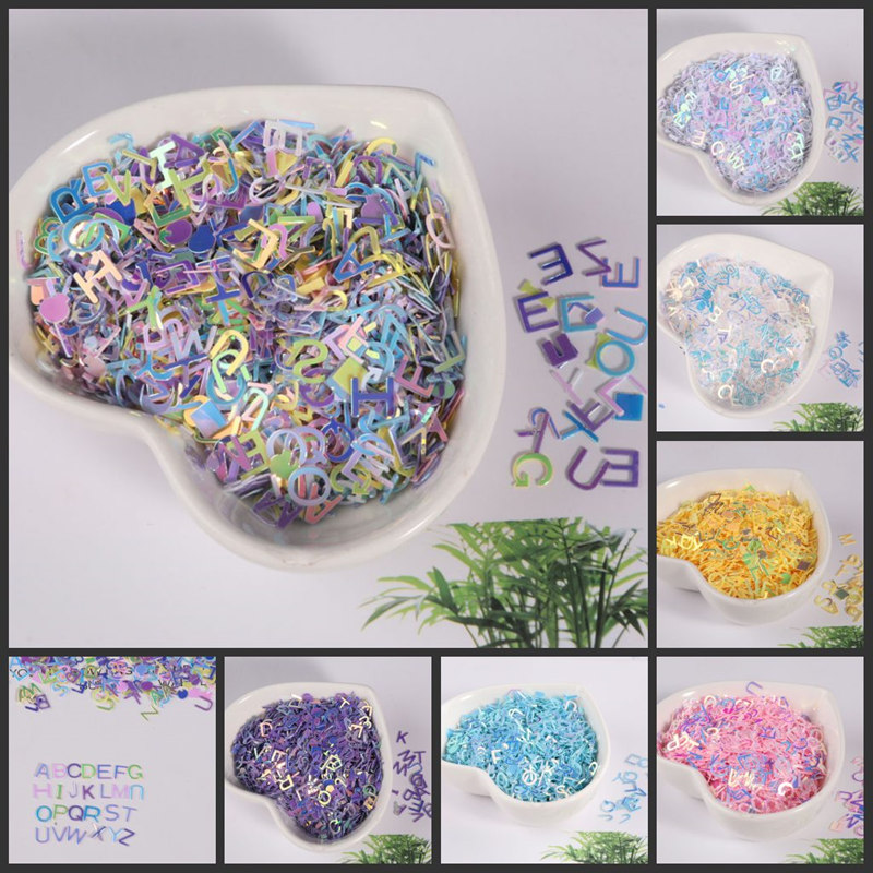 10g/pack 6mm Letter Shape Loose Sequins Paillettes for Nails Art wedding Decoration Confetti Star Nail Sequin Arts and Crafts