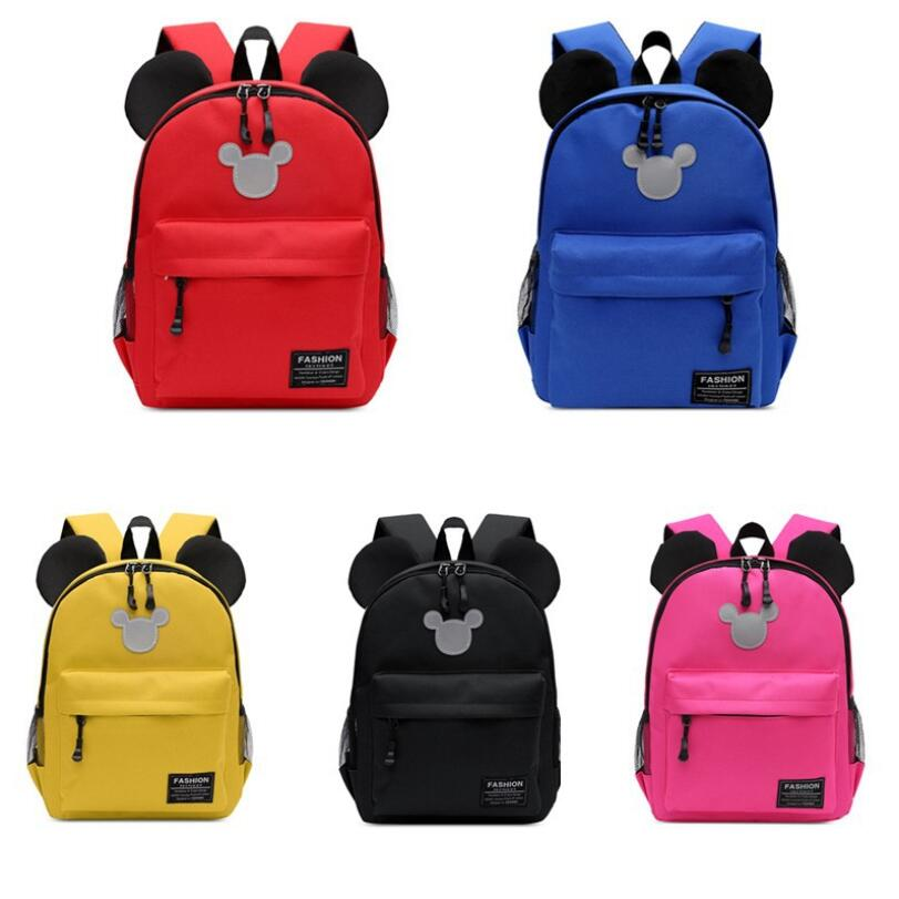 New Kids Bag Kindergarten Children Cartoon Mickey School Bags Canvas Backpack Waterproof Schoolbags Satchel 5 Colors