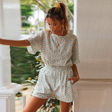 Summer Casual Women 2 Piece Set Floral Print Short Sleeve T-shirt Pocket Shorts Set Tracksuit Women Summer Clothes E3(China)