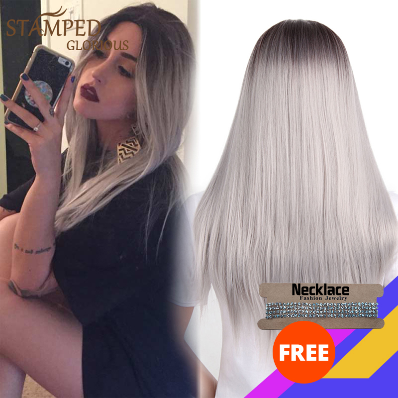 Stamped Glorious Middle Part Long Straight Synthetic Wig Ombre Black White Wig For Women Heat Resistant Fiber Cosplay Wig