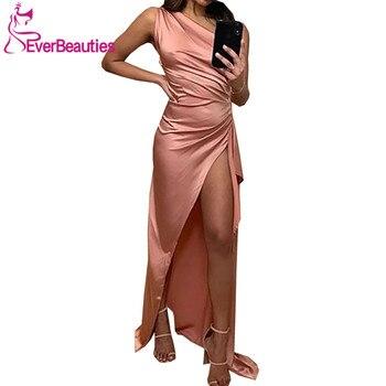One Shoulder Evening Dress Long 2020 Vestidos De Fiesta Mermaid Side Split Robe De Soiree вечерние платья цена 2017