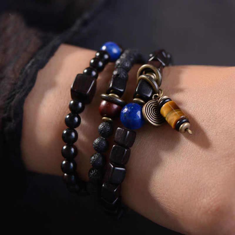 Unique Natural Lava Rock Multilayer Bracelet Men Black Sanders Ebony Wood Bracelet Women Creative Bracelets Gift For Him AT-05
