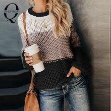 Женский пуловер с круглым вырезом quevoon Повседневный оверсайз