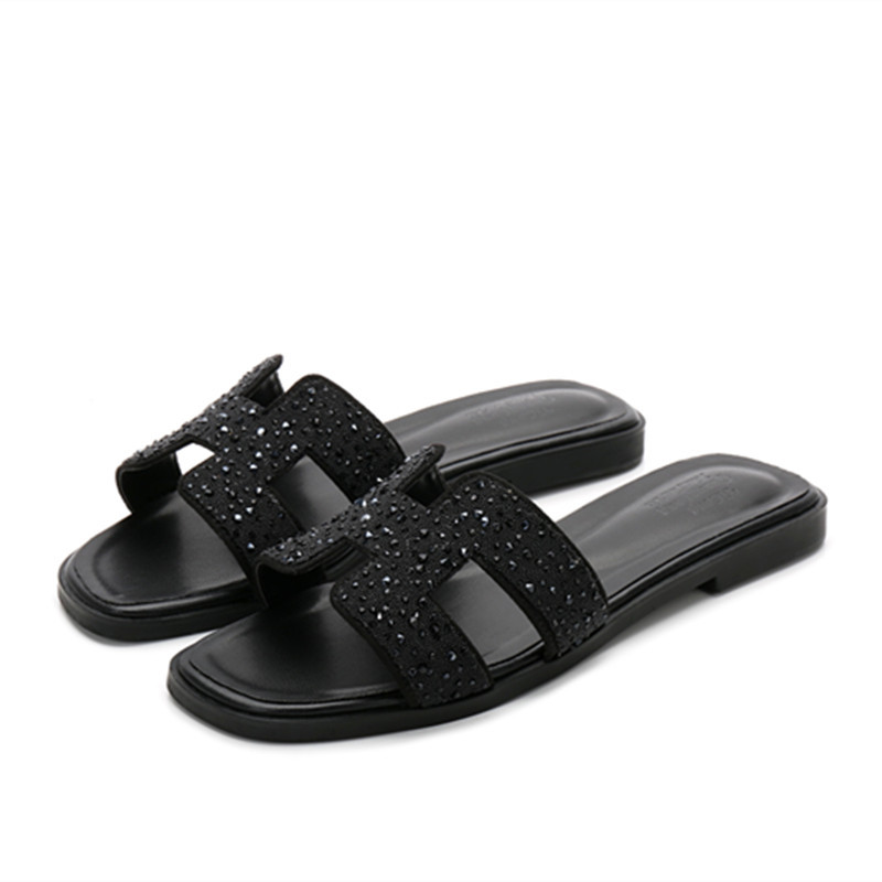 Summer Fashion Genuine Leather Women Slippers Ladies Luxury Designer H Sandals High Quality Shoes Flat Slippers Women