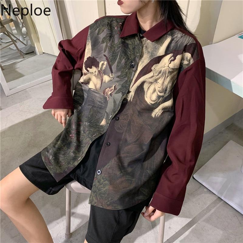 Neploe Vintage Ästhetischen Amor Engel Print Bluse Shirt Cardigan Long Sleeve Top Blusen Frauen Männer Kleidung 2020 Neue Blusas 55031