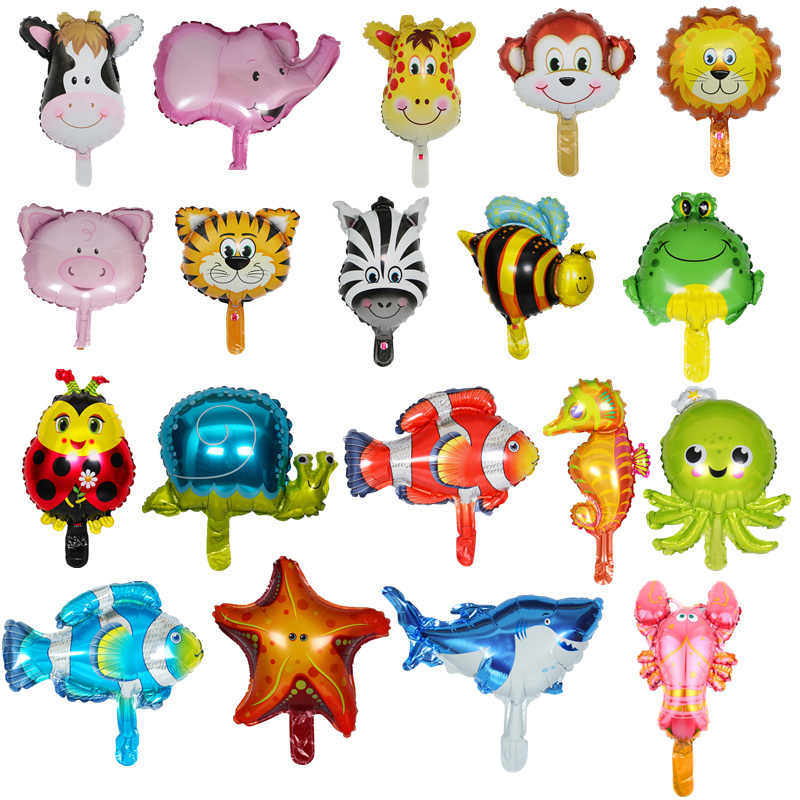 1pcs Mini Animal Foil Balloons Birthday Party Decorations Kids Ocean Fish Balls Inflatable Toys Baby Shower Animal Party balls