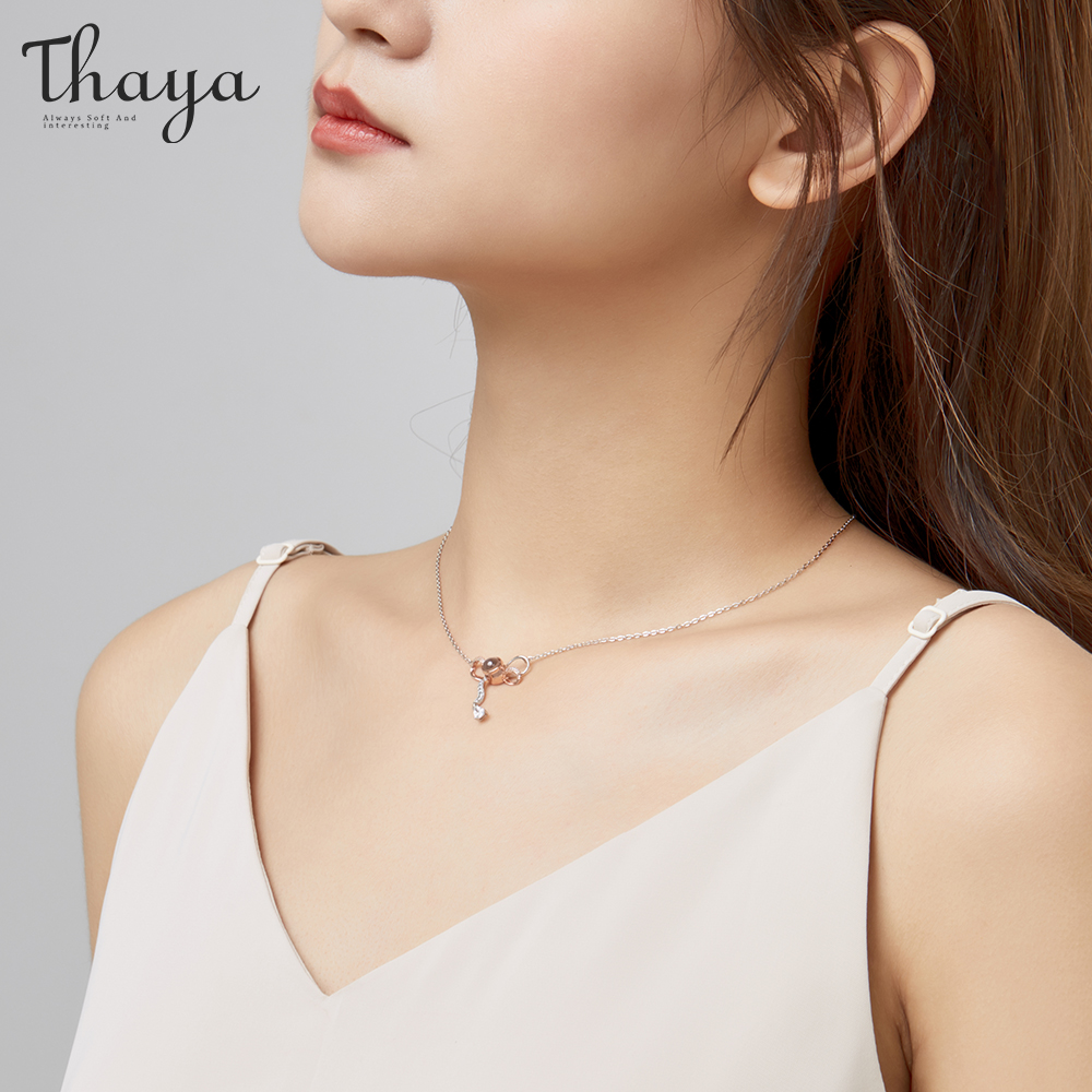 Thaya 925 Sterling Silver Lover 39 s BowKnot Necklace Love You Projection Rose Gold Plated Necklace for Women Best Gift for Her in Necklaces from Jewelry amp Accessories