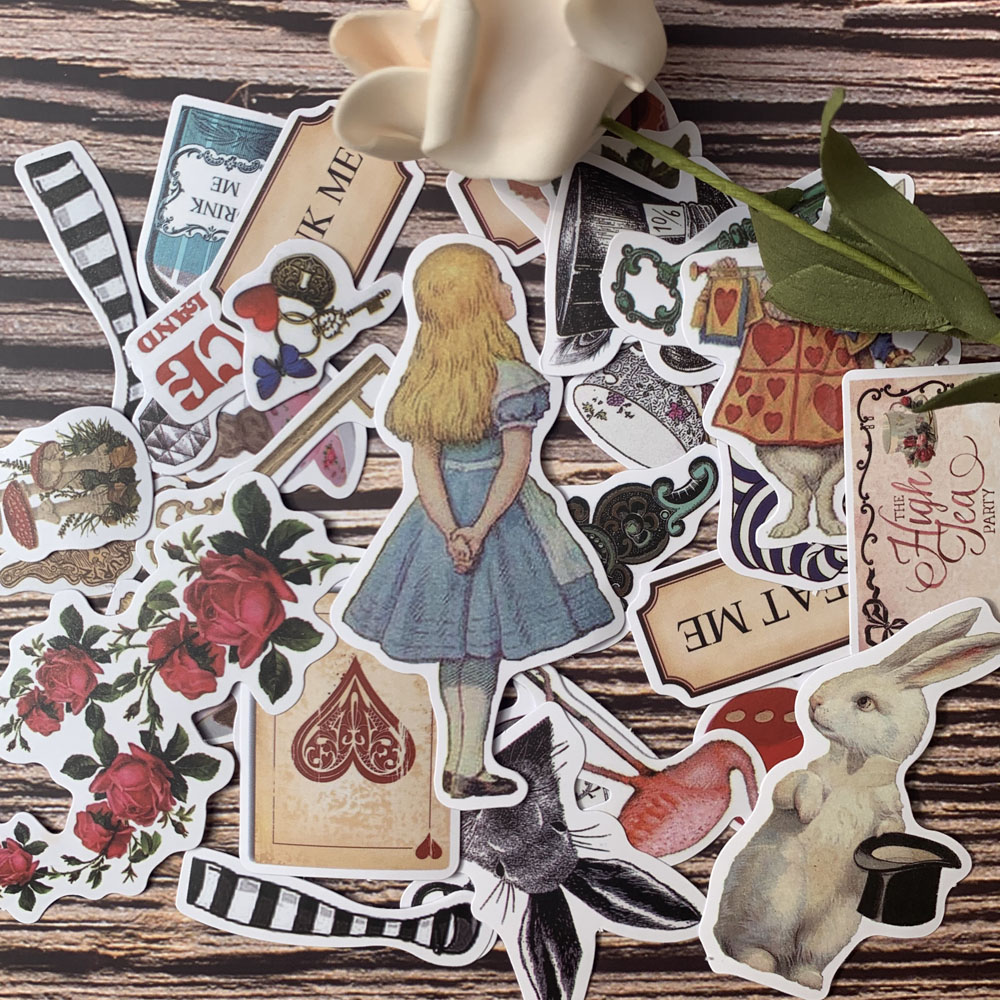30pc/lot Alice Sleepwalking In Wonderland Retro Girl/Coffee Cup/Perfume/Poker Rabbit/Magic Hat/Key/Rose Sticker DIY Scrapbooking