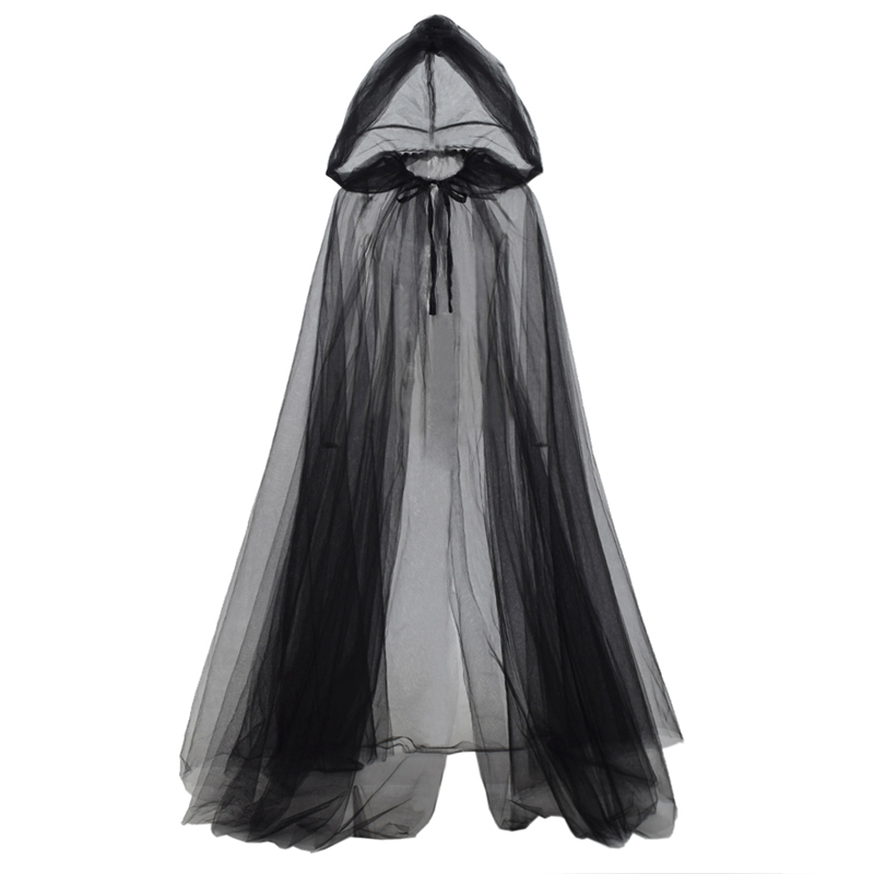 Witch Costume Elf Cloak Women Halloween Hooded Tulle Cape Cosplay