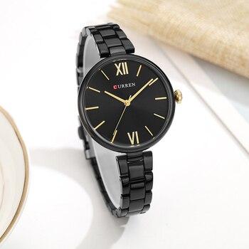 CURREN 9017 New Women Watch Quartz Clock Creative Pattern Dial Fashion Wristwatch With Box
