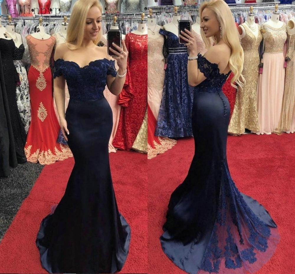 YiMinpwp Dark Navy Mermaid Prom Dresses Off Should
