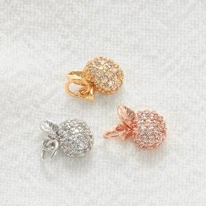 Charme Apple Charms für Schmuck Machen Groß Diy Ohrring Halskette Glück Gold Obst Zubehör Metall Kupfer CZ 5mm Loch