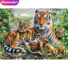 MomoArt Diamond Painting Animal Mosaic Tiger Cross Stitch Embroidery Full Drill Square Rhinestone Gift