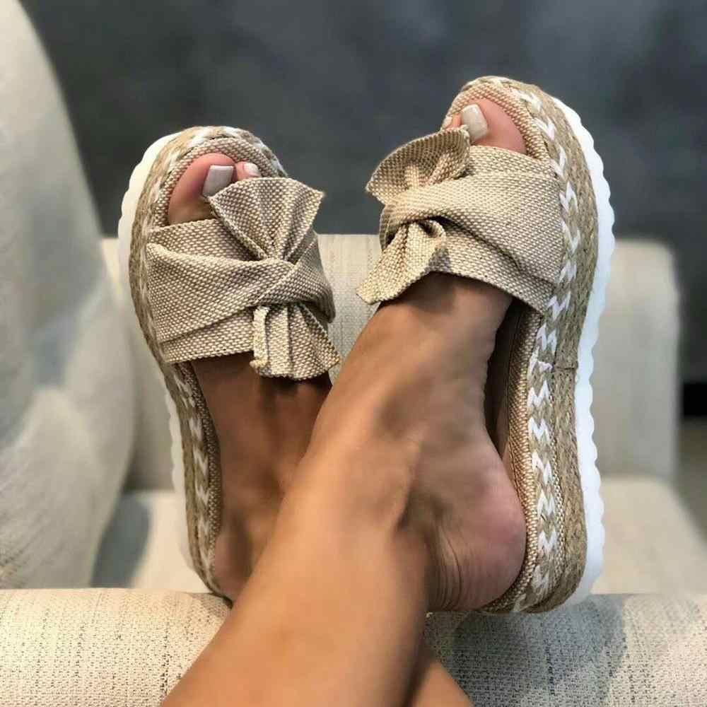 Terlik kadın slaytlar yaz yay yaz sandalet yay-düğüm terlik kalın tabanı platformu kadın çiçek plaj ayakkabısı
